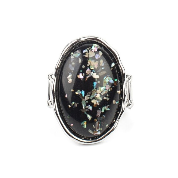 Paparazzi Glittery With Envy Blk Ring, NWT